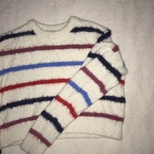 FOREVER21 STRIPED FLUFFY SWEATER